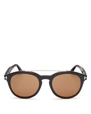 Tom Ford Polarized Newman Round Sunglasses, 53mm