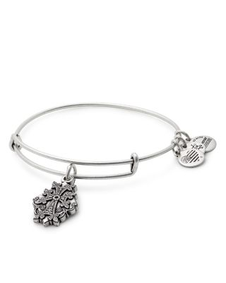 ALEX AND ANI Armenian Cross Adjustable Wire Bangle in Russian Silver