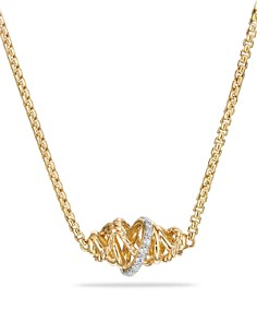 David Yurman - Crossover Single Station Necklace with Diamonds in 18K Gold