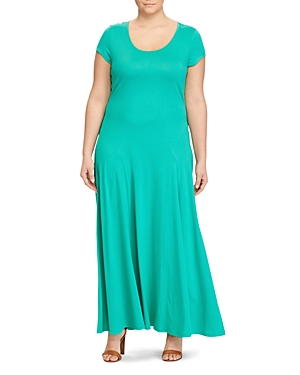 Lauren Ralph Lauren Plus Cap Sleeve Maxi Dress