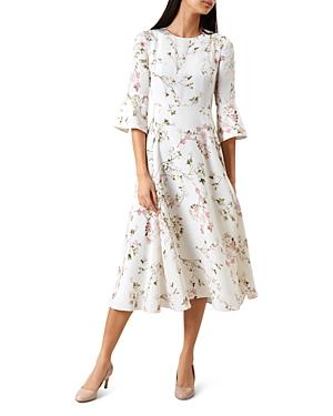 1930s Style Dresses   30s Art Deco Dress Hobbs London Agatha Floral-Print Silk Dress AUD 418.27 AT vintagedancer.com