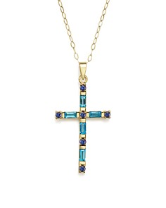 "Bloomingdale's - Blue Topaz and Iolite Cross Pendant Necklace in 14K Yellow Gold, 16"" - 100% Exclusive"