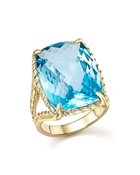 Bloomingdale's - Blue Topaz Statement Beaded Ring in 14K Yellow Gold - 100% Exclusive