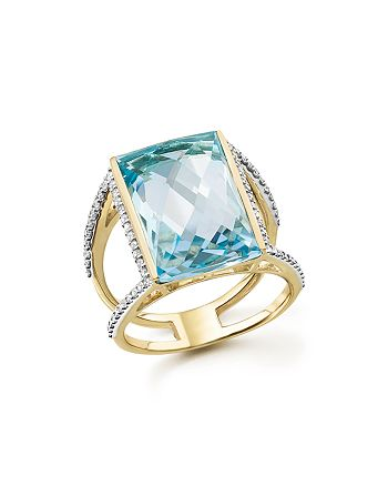 Bloomingdale's - Blue Topaz Statement Ring with Diamonds in 14K Yellow Gold - 100% Exclusive