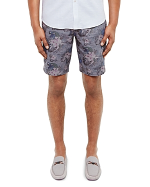 Ted Baker Parrot Floral Print Oxford Shorts