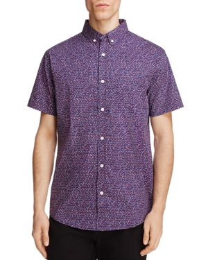 Oxford Lads Floral Print Slim Fit Button-Down Shirt