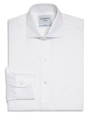 LEDBURY Fine Twill Slim Fit Dress Shirt in White
