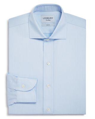 LEDBURY Fine Twill Slim Fit Dress Shirt in Blue