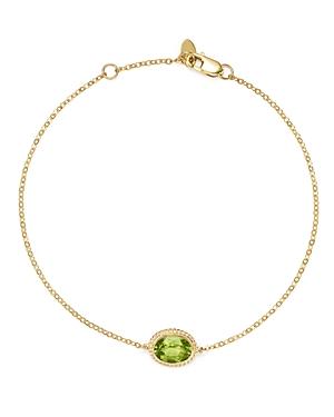 Peridot Oval Bracelet in 14K Yellow Gold