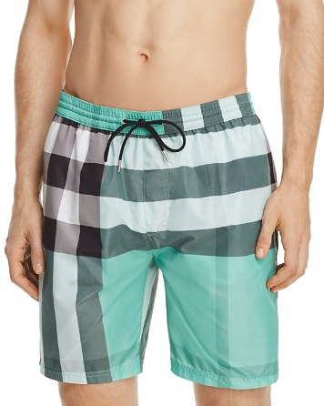 $Burberry Gowers Check Swim Trunks - Bloomingdale's