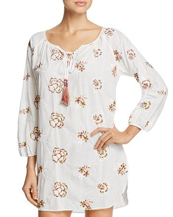 Josie - Embroidered Floral Tunic Sleepshirt