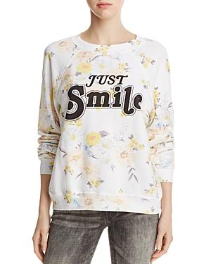 Wildfox Floral Print Just Smile Sweatshirt