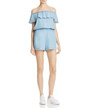 Splendid Off-the-Shoulder Chambray Ruffle Romper