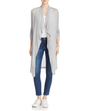 Three Dots Drape Front Cardigan