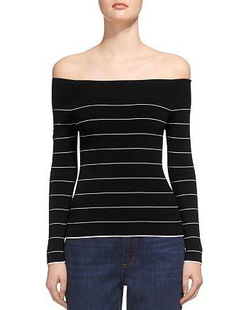 Whistles - Fine-Stripe Bardot Knit Top