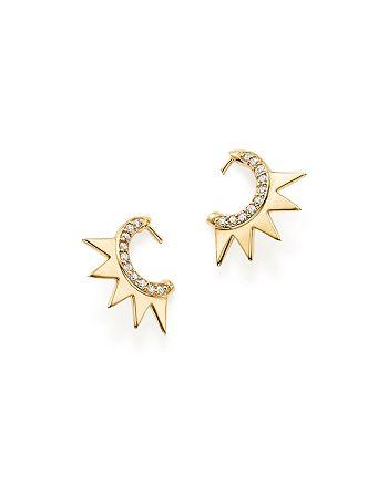 ICONERY - x Luv AJ 14K Yellow Gold Crown Huggie Hoop Earrings with Diamonds