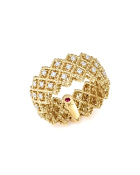 Roberto Coin - 18K Yellow Gold New Barocco Three Row Diamond Ring
