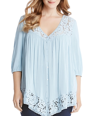 Karen Kane Plus Lace Inset Button-Down Blouse