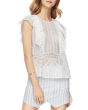 Bcbgmaxazria Nishka Ruffled Lace Top