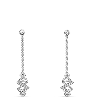 David Yurman Crossover Chain Drop Earrings with Diamonds