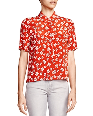 The Kooples Silk Short Sleeve Floral Shirt