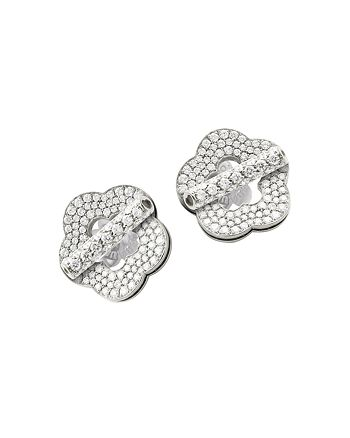 Pasquale Bruni - 18K White Gold Make Love Floral Pavé Diamond Stud Earrings