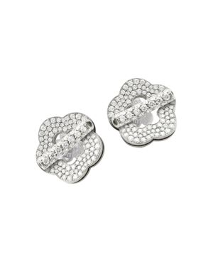 Pasquale Bruni 18K White Gold Make Love Floral Pave Diamond Stud Earrings