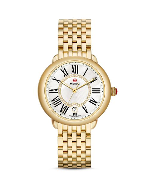MICHELE - Serein 16 Diamond Dial Watch Head, 36 x 34mm & Serein 16 Gold Bracelet Watch, 16mm