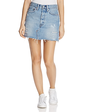 Levi's Distressed Denim Mini Skirt in American Wild