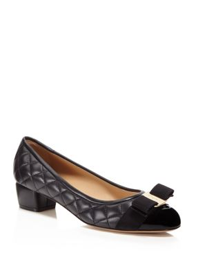 Salvatore Ferragamo Vara Quilted Leather and Patent Leather Pumps