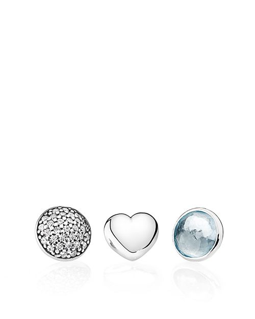 PANDORA - Charms - Sterling Silver, Aqua Blue Crystal & Cubic Zirconia March Petites, Set of 3