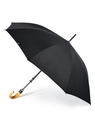 Stratus Collection Manual Stick Crook Umbrella With Malacca Cane Handle, Black