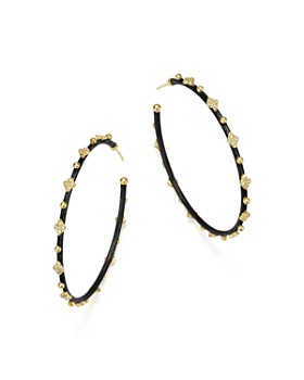 Armenta - 18K Yellow Gold and Blackened Sterling Silver Old World Midnight Diamond Hoop Earrings