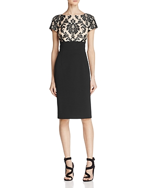 Adrianna Papell Embroidered Lace-Bodice Dress
