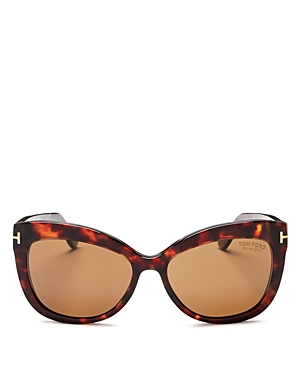Tom Ford Women's Allistair Oversized Polarized Cat Eye Sunglasses, 56mm