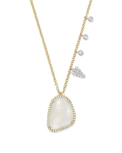 Meira T - 14K White and Yellow Gold Large Rainbow Moonstone and Diamond Pendant Necklace, 16""