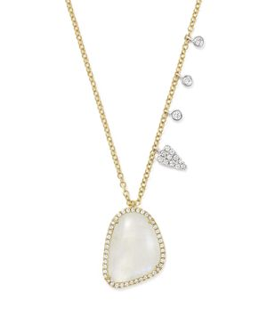Meira T 14K White and Yellow Gold Large Rainbow Moonstone and Diamond Pendant Necklace, 16