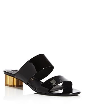 Salvatore Ferragamo Patent Leather Low Heel Slide Sandals
