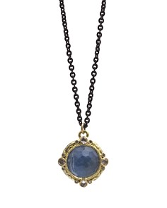"Armenta - 18K Yellow Gold and Blackened Sterling Silver Old World Blue Quartz Triplet, Diamond and White Sapphire Pendant Necklace, 16"" - 100% Exclusive"