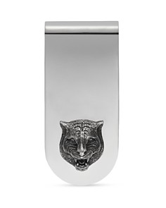 Gucci - Sterling Silver Feline Head Motif Money Clip