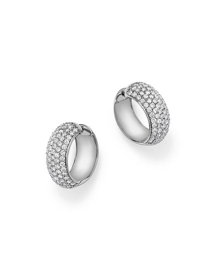 Bloomingdale's - Diamond Huggie Hoop Earrings in 14K White Gold, 3.0 ct. t.w. - 100% Exclusive