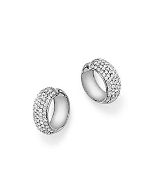 Diamond Huggie Hoop Earrings in 14K White Gold, 3.0 ct. t.w. - 100% Exclusive