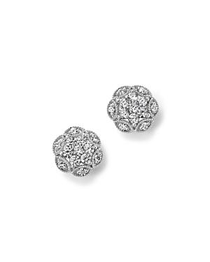 Diamond Flower Stud Earrings in 14K White Gold, 1.0 ct. t.w. - 100% Exclusive