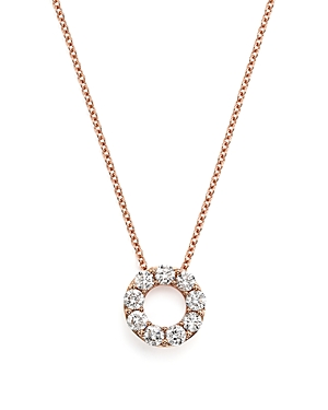 Diamond Open Circle Pendant Necklace in 14K Rose Gold, .65 ct. t.w. - 100% Exclusive