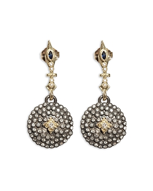 Armenta 18K Yellow Gold and Blackened Sterling Silver Old World Sapphire and Diamond Shield Earrings
