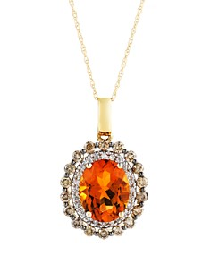 Bloomingdale's - Citrine Oval with White and Brown Diamond Halo Pendant Necklace in 14K Yellow Gold, 18""