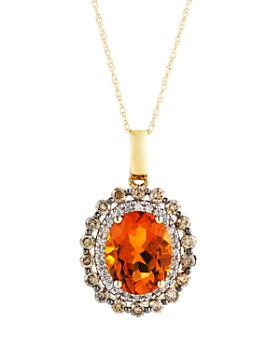"""Bloomingdale's - Citrine Oval with White and Brown Diamond Halo Pendant Necklace in 14K Yellow Gold, 18"""""""