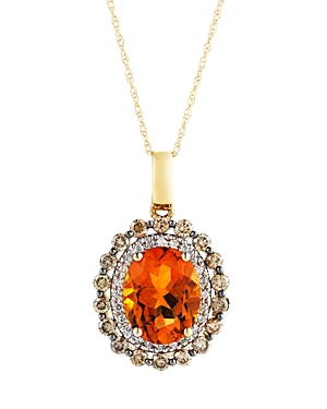 Citrine Oval with White and Brown Diamond Halo Pendant Necklace in 14K Yellow Gold, 18