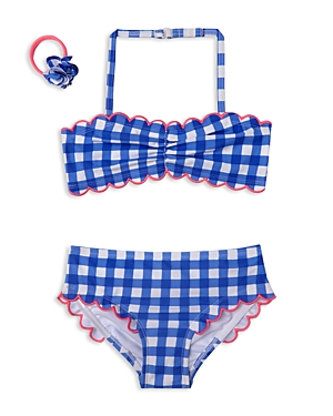 Hula Star Girls' Gingham 2-Piece Swimsuit & Hair Tie Set - Little Kid