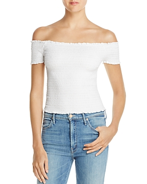 Guess Maya Smocked Off-the-Shoulder Top